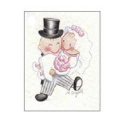 Tarjeta librito Pit y Pita novia en brazos
