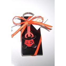 Llavero metal bebé imperdible en naranja, con tarjeta