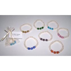 Pulsera con 3 perlas cristal colores