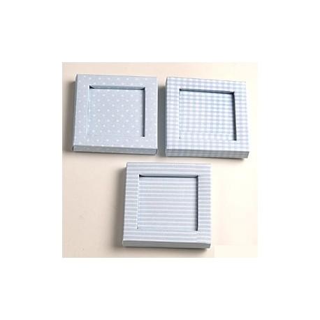 Caja marco topos, rayas y cuadros con caja transparente