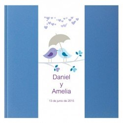 Libro de firmas boda Azul brillo