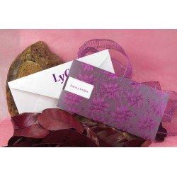 Invitación de Boda tonos púrpura con relieves brillo