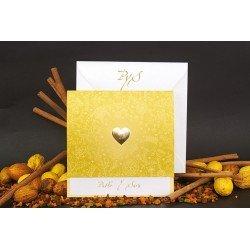 Invitación de Boda corazón dorada