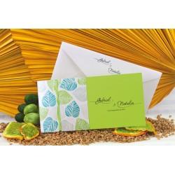 Invitación de Boda hojas verdes