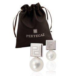 Pendientes perla Pertegaz en bolsa