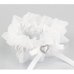 Liga novia blanca broche corazón