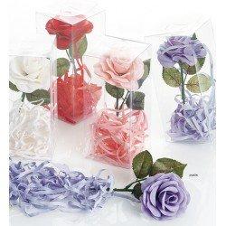 Rosa con tallo de jabón y virutas jabón