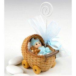 Portafotos niño bebé en moisés con peladillas