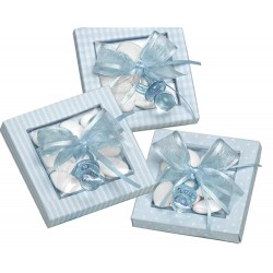 Chupete azul en caja con peladillas