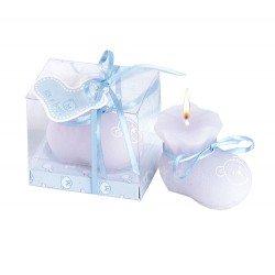 Vela patuco azul perfumada, caja regalo