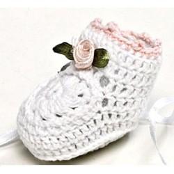Botita ganchillo flor rosa