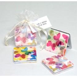 Espejo doble mariposas en bolsa y tarjeta personalizada