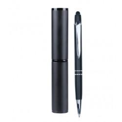 Bolígrafo con tubo cilíndrico negro