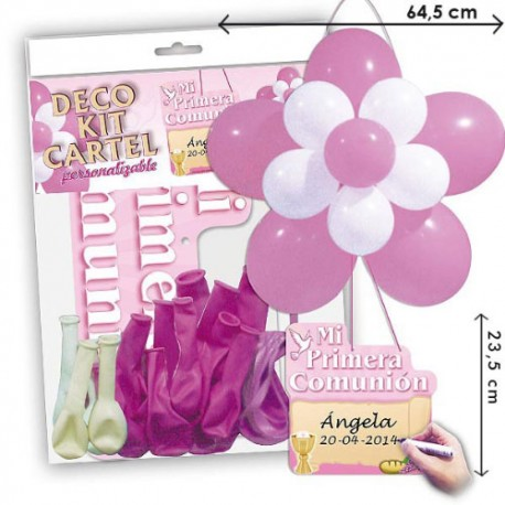 Kit cartel globos Comunión Niña