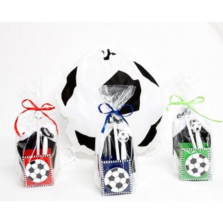 Portalápices madera con mochila, lápiz y boli fútbol
