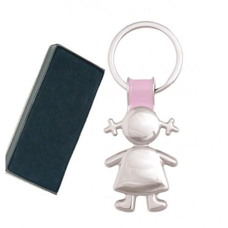 Llavero metal silueta niño o niña lacado parte superior