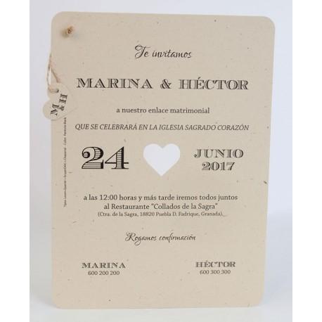 Invitación boda Edima Natural 720