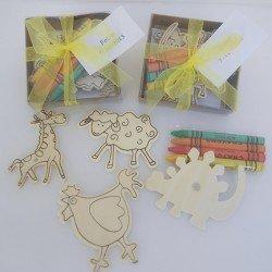 4 imanes infantiles con ceras y tarjeta