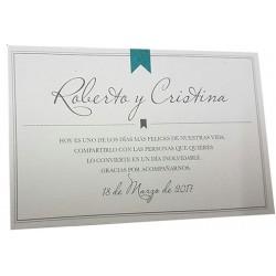 Tarjeta agradecimiento boda Esencia 704