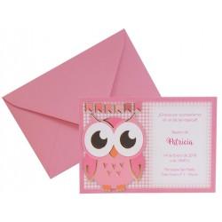Invitación Búho rosa 656