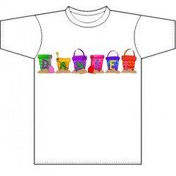 Camiseta blanca niños diseño Buckets