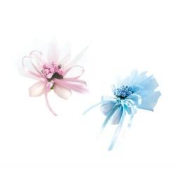 Pic con 2 peladillas en tul y florecitas