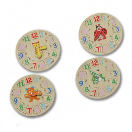 Reloj puzzle en madera