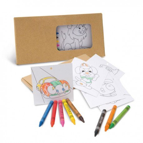 Set infantil con 8 lápices ceras y plantillas