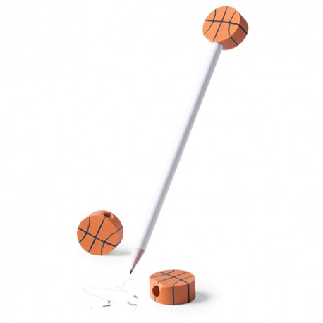 Lápiz madera con gomas baloncesto