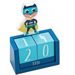 Calendario perpetuo en madera Super Héroe