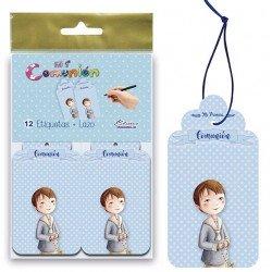 Bolsa 12 etiquetas para los detalles niño con Rosario