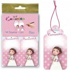 Bolsa 12 etiquetas para los detalles niña con flores