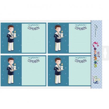 Bolsa 20 invitaciones Comunión niño con vela