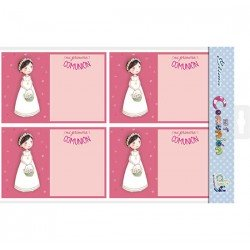 Bolsa 20 invitaciones Comunión niña cesta flores