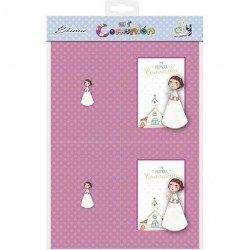 Bolsa 10 recordatorios para foto Comunión niña flores