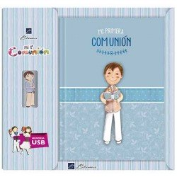 Libro de firmas Comunión con USB niño con Biblia