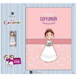 Libro de firmas Comunión con USB niña con Biblia