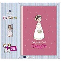 Libro de firmas Comunión con USB niña cesta flores