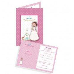 Portafotos en cartulina Comunión niña con flores