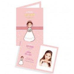 Portafotos en cartulina Comunión niña con Biblia