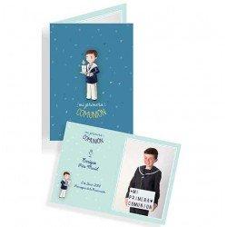 Portafotos en cartulina Comunión niño con vela