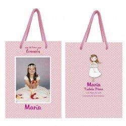 Bolsa rosa para niña personalizada con topos