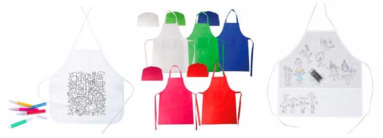 Set delantal y gorro para los peques cocineros o delantal infantil para colorear.