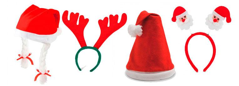 diademas navideas gorros de papa noel con coletas detalles navideos infantiles