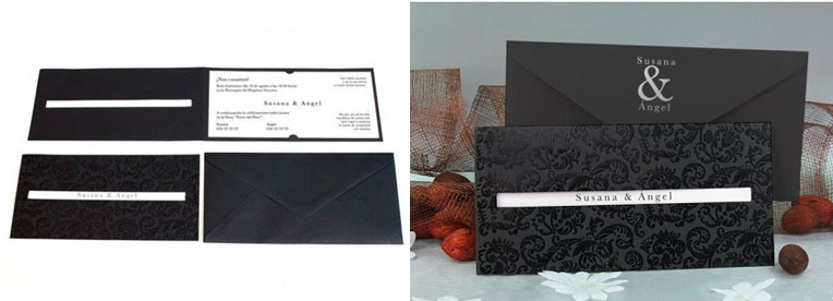 Invitación boda Damasco negro