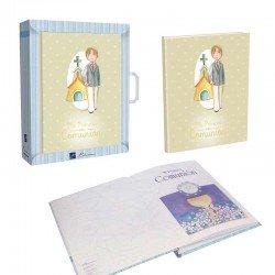 Libro Comunión para firmas con maletín, Niño en traje con iglesia de fondo