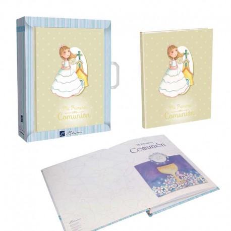 Libro Comunión para firmas con maletín, Niña con iglesia de fondo