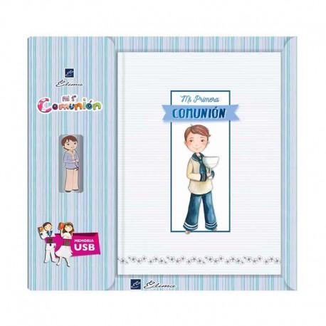 Libro para Comunión firmas con USB, Niño con Cáliz