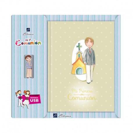 Libro para Comunión de firmas con USB, Niño en traje con iglesia de fondo