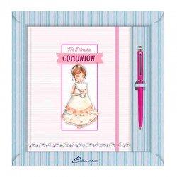 Diario Comunión más bolígrafo, niña con Cáliz y diadema